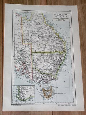 1910 Original Map Of Eastern Australia Queensland Victoria New South Wales