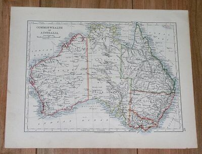 1906 Antique Map Of Australia / New South Wales Victoria / Melbourne Sydney