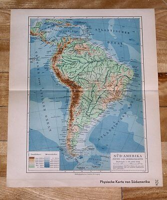 1936 Original Vintage Physical Map Of South America / Andes Amazon