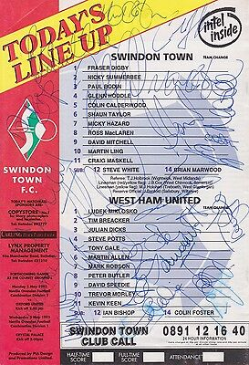 WEST HAM FC Multi-Hand SIGNED x21 Programme Back Page/Cutting 1993