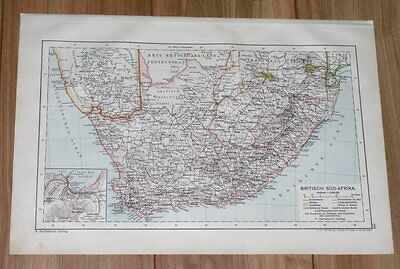 1910 Original Map Of South Africa Cape Colony Transvaal