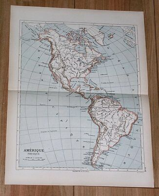 1887 Original Antique French Map Of Americas North America And South America