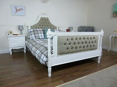 Hand Carved French Upholstered Double Bed In Vintage White