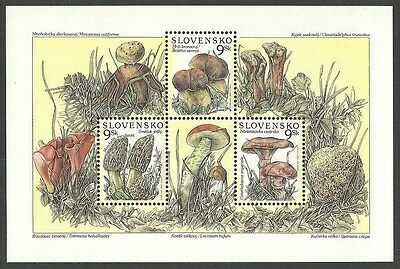 Slovakia Czechoslovakia 1997 Fungi Mushrooms Flowers Sheet Mnh