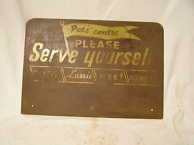 vintage metal sign Pets, Lassie. Kit-E-Kat, Meet.Chappie, food
