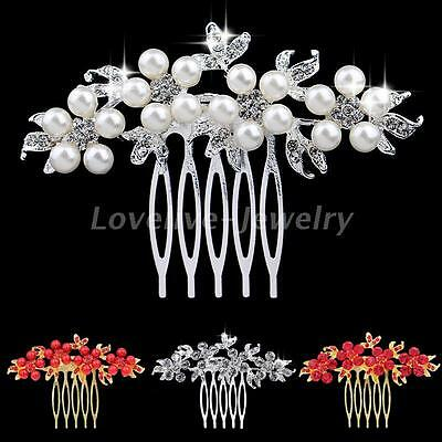 Gold/Silver Plated Wedding Bridal Pearl Crystal Flower Hair Combs Slide Clip New