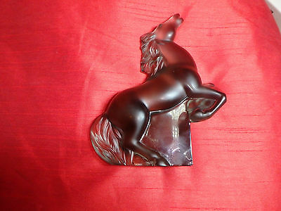 Lalique Art Glass Kazak Frosted Grey Glass Rearing Horse signed Sculpture