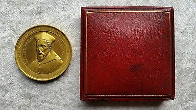 Antique 1858 Cardinal William Allen Gilded Bronze Cased Medallion Ushaw College