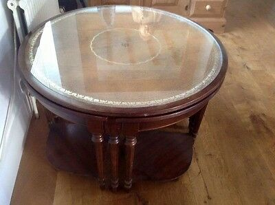 Antique Round Nest Of Glass Top Tables Shabby Chic