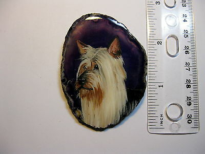 silky terrier pin/necklace on agate