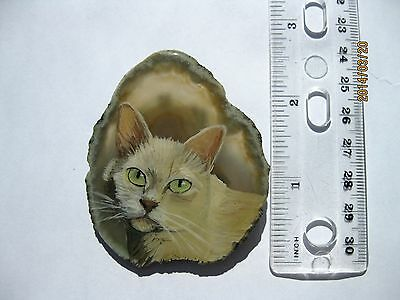 burmese cat pin/necklace on agate