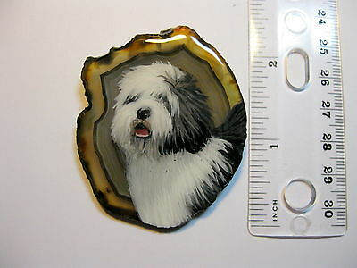 old english sheepdog pin/necklace on agate