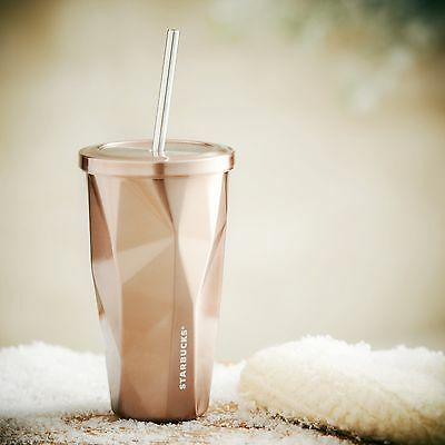 Starbucks Rose Gold Facets Chiseled Stainless Steel Cold Cup16 Oz 2012