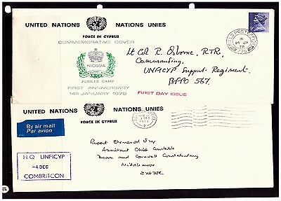 United Nations FPO Covers In Cyprus. FPO 2 & 775. 1978. Used.  {#804}