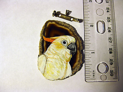 citron crested cockatoo pin/necklace on agate