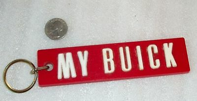 Vintage Rare Condition 70's MY BUICK Plastic Red Automotive Car Keychain Ring