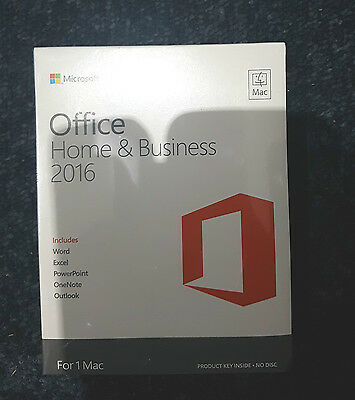 Microsoft Office Home and Business 2016 For MAC, 1 User PC W6F-00550 Sealed