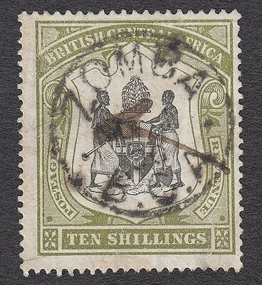 Nyasaland 1897 SG50a 10/- Black & Green fair/good used Zomba cds v rare cat £350