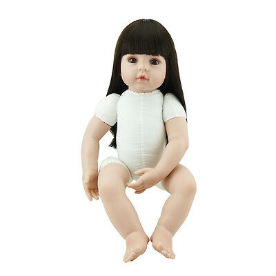 22'' Reborn Toddler Dolls Handmade Baby Lifelike Soft Vinyl Naked Girl Doll Gift