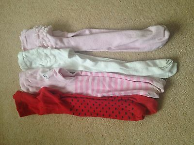4x Pairs Girls Tights Age 2-3 Matalan Pinks Reds Whites Frilly