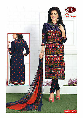 Salwar Kameez Ethnic Design Loose Dress Material  Punjabi Suit  Unstitched 10006