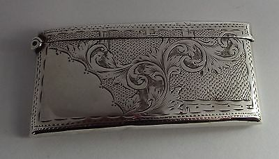 Beautiful antique shand chased olid sterling silver card case. 1910