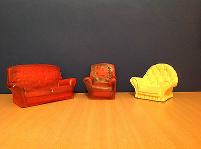 Vintage Sindy 70's Sofa & Chair Funiture + 80's Cream Sofa Bundle