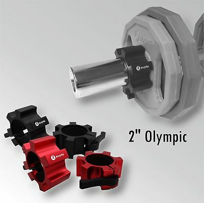 "BodyRip Olympic 2"" Star Collars Barbell Dumbell Clips Aluminum Locks Pair"