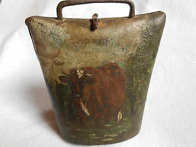 antique cow bell with hand painted cow and calf