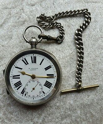 Antique solid silver chunky gent's H. STONE LEEDS pocket watch + Albert chain
