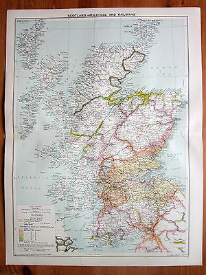 1939 Large Map Scotland Political and Railway System Distance Chart