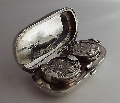 Solid sterling silver double full & half soveregn holder / case. Chester 1921