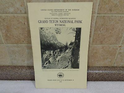 Vintage 1932 Grand Teton Wyoming National Park Brochure Guide~Maps~30 pages RARE