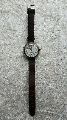 Authentic British WW1 Silver Cased Trench Wristwatch + Original Leather Strap