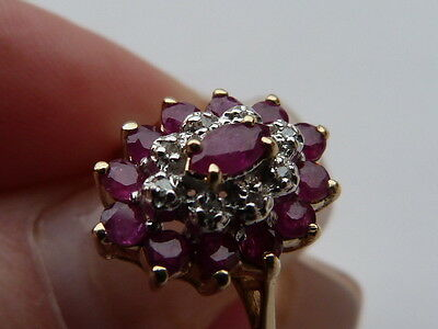 Vintage 9Ct Gold Ruby And Diamond Ring