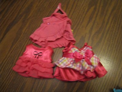 BUILD A BEAR SmallFry PINK DRESSES LOT OF 3- DIFFERENT ADORABLE STYLES!
