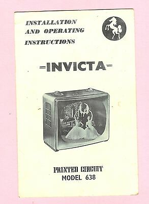 Instructions for Invicta TV Model 638 - printed circuit