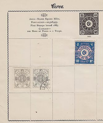 Ls144 Extremely Yearly Stamps From Korea Onwards On Old Album Page