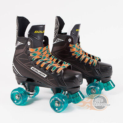 Bauer Quad Roller Skate - Supreme S140  Conversion Ventro Wheels Teal Orange
