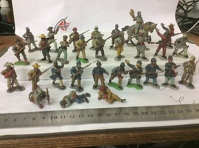 AMERICAN CIVIL WAR 40 mm METAL WARGAMES FIGURES 30 pieces UNION AND CONFEDERATE