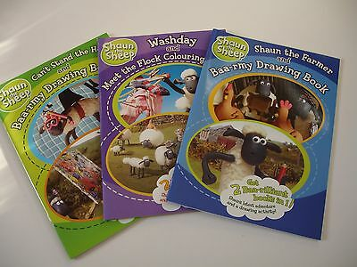 Shaun the Sheep,Drawing and Colouring books set of 3.