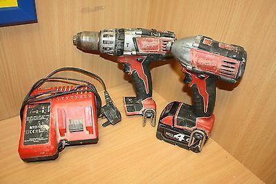 Milwaukee Heavy-Duty Cordless Drill Impact Driver Twin Pack 18 Volt 2 x 4.0Ah