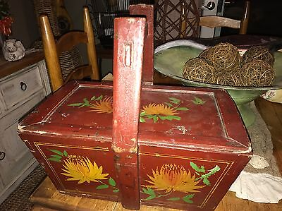 Antique Chinese/ Asian Lacquered Wedding Brides Wooden Basket Box 1800's
