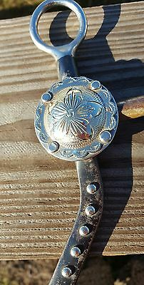"""Vintage Horse Show Bit Lg Floral Silver Concho 5"""" Snaffle Mouth w/ Maker Mark"""