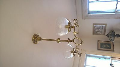 Gasolier Two Light Ceiling Fixture Gas Brass