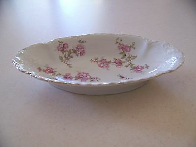 Antique Pickle Dish - floral pattern w/gold trim, embossed