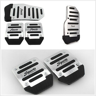 3 Pcs Silver Manual Transmission Autos Interior Nonslip Foot Brake Pedals Covers