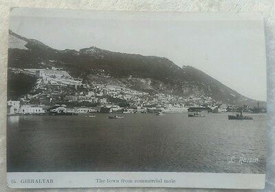 Vintage Gibraltar The town from commercial mole RP postcard