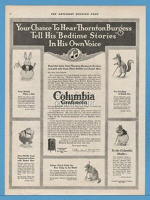 1918  Columbia Graphophone Phonograph Record Bedtime Stories Thornton Burgess Ad