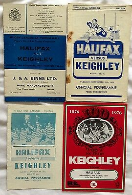 4 HALIFAX v KEIGHLEY RUGBY PROGRAMMES 1956 - 1977.